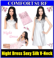 Lace Night Dress Sexy Silk V-Neck Sleep Wear Underwear Pyjamas Nightwear