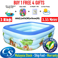 Big Size [3.55 Meter]355(L)x175(W)x75CM(H)3 Ring Kids Family Inflatable Swimming Pool, Rectangular Kolam Air Budak