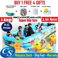 Big Size 388(L)x200(W)x60CM(H)3 Ring Kids Family Inflatable Swimming Pool, Rectangular Kolam Air Budak