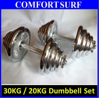 30KG Quality GYM Adjustable Electroplating Chrome Dumbbell Bar Mercerized Rod