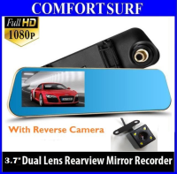Golden Frame 3.7 inch Car DVR 1080P QUAD-CORE GPU with Rear Camera Rearview Mirror Camera Video Recorder
