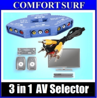 3 IN 1 Audio Video Av Selector Switcher Switch Box A/v Multi Input Output Console