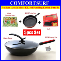 5pcs Set 32CM 26CM Non-Stick Frying Pan + Glass Cover + Knife + Glass Chopping Board
