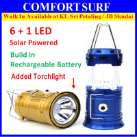 All in 1 Bright Solar 6 LED Rechargeable Outdoor Camping Hiking Emergency Folding Lantern Tent Light Lamp