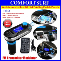 T60 Car FM Transmitter Modulator Kit MP3 WMA Player Dual USB Car Charger SD LCD Remote