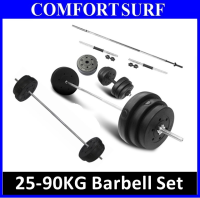Fitness GYM 25 ~ 90 KG Barbell Set Quality Plating Weighing Barbell Bar / Pole Dumbbell Set
