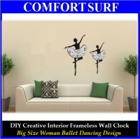 Large Size Creative Interior Decoration Frameless DIY Wall Acrylic Clock - Woman Ballet Dance Design