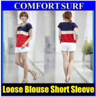 Loose Blouse Round Neck Short Sleeve T-shirt Chiffon