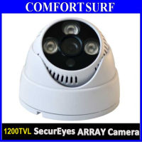 "Latest High Resolution CCTV Dome 1/3"" IR Infrared Color CCD Camera 1200TVL 24pcs LED"
