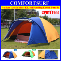 CP011 3/4 Persons Outdoor Double Layer + Extra Vestibules / Hall Picnic Camping Tent + Free Carry Bag