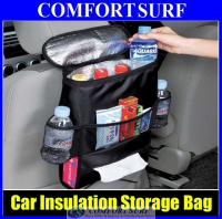 Car Back Seat Cool & Hot Insulation Multi Storage Bag Organizer + Tissue Holder