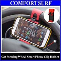 Drive Smart Retractable Car Steering Wheel Smart Phone Clip Holder (GPS, iPhone, Samsung)