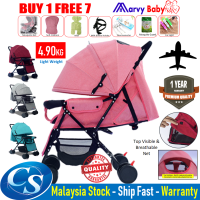 Lightweight Foldable Baby Stroller with Adjustable Backrest, Canopy, Suspension Wheel + Free 6 Gift