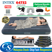 INTEX 64732  (99 x 191 x 25CM) DURA-BEAM Standard Fiber-Tech 25CM Downy Inflatable Flocked Single Air Bed Air Mattress
