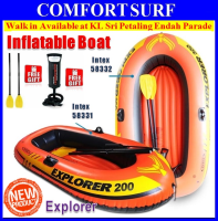 INTEX 58332 Explorer 300 3-Person Inflatable Boat Set With French Oars Manual Air Pump