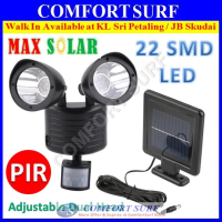 Solar Powered Super Bright 22 LED Dual Head PIR Motion Sensor Outdoor Security Flood Spot Light