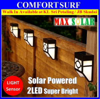 Auto ON Solar Powered Light 2 LED Outdoor Wall Street Oriental Lamp Bulb Light