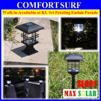 2pcs Set MaxSolar SL021 Solar Powered Decorative Outdoor Pillar Ground Lawn Path Driveway LED Lighting Light Lamp Bulb
