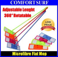 Microfiber Flat Mop With Adjustable Length 70~125CM + 360° Rotatable Mop With Big Mop Cloth