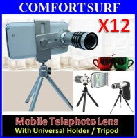 12X Optical Zoom Mobile Telephoto Lens + Universal Smartphone Holder & Tripod