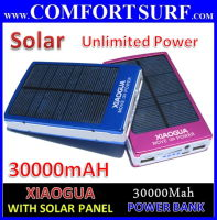XIAOGUA 30000mAH with SOLAR Panel Portable Mobile Power Bank