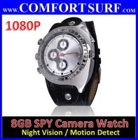 8GB IR Night Vision 1080P Waterproof watch Camera DVR with Motion Detect Function