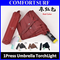 Added Torch Light Korea Style Foldable One Click ONLY Automatic Open & Close Umbrella