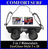Portable 3 in 1 Binoculars EyeGlass Style 3x28 Magnification Observing Telescope