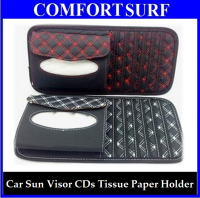 2-in-1 Car Vehicles Sun Visor Plaid CDs Tissue Paper Holder