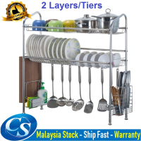 Stainless Steel Kitchen Dish Sink Top Rack Drainers Rak Pinggan Mangkuk 2 Layers 60cm 70cm 80cm 90cm