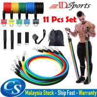 ADSports 11pcs Fitness Resistance Bands Latex Tubes Yoga Pull Rope Door Anchor Pull Ankle Strap Exercise Bands Gym Sport