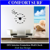 Creative Interior Decoration Frameless DIY Wall Acrylic Clock-Fish Sea Design