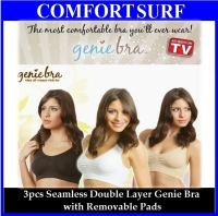 1 Set 3pcs Classic Color Seamless Genie Bra Double Layers with Removable Pads