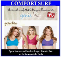 1 Set 3pcs Colorful Seamless Genie Bra Double Layers with Removable Pads