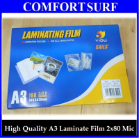 Thickness:2 x 80 Micron (160) A3 Size High Quality Laminating Pouches Film for File, Cards, Photos and More!