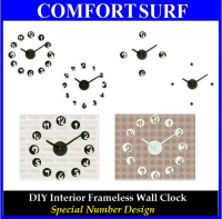 Creative Interior Decoration Frameless DIY Wall Acrylic Clock-Special Numbers Design