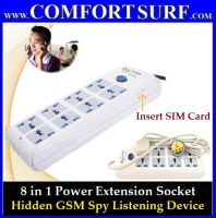 Power Extension Plug Socket with Hidden Quadband GSM Spy Bug Listen Device