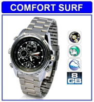 8GB HD Waterproof Spy Watch Camera Video camcorder (silver)