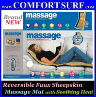 Reversible Faux Sheepskin 9 Motor Massage Mat with Soothing Heat Chair