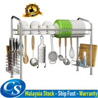 Stainless Steel Kitchen Dish Sink Top Rack Drainers Rak Pinggan Mangkuk 1 Layer 60cm 70cm 80cm 90cm