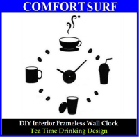 Creative Interior Decoration Frameless DIY Wall Acrylic Clock-Tea Time Drinking Design