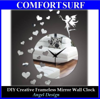 Angel Design - DIY Creative Interior Decoration Framelss Mirror Wall Acrylic Clock