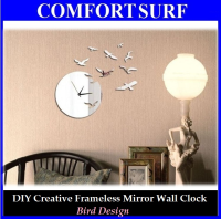 Bird Design - DIY Creative Interior Decoration Framelss Mirror Wall Acrylic Clock