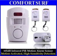 105dB Infrared PIR Motion Alarm Sensor with Two Remote Controller