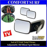 NEW!! 2 Unit Total View Mirrors - Adjustable 360 Blind Spot Mirror