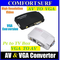 Video Svideo TV AV RCA to PC VGA Signal Adapter Converter video Switch Box