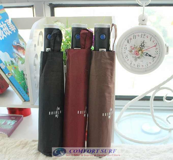 NEW Mini Korea Style 3 Layer Foldable One Click ONLY Automatic Open & Close Umbrella With Build in Torch Light Function.