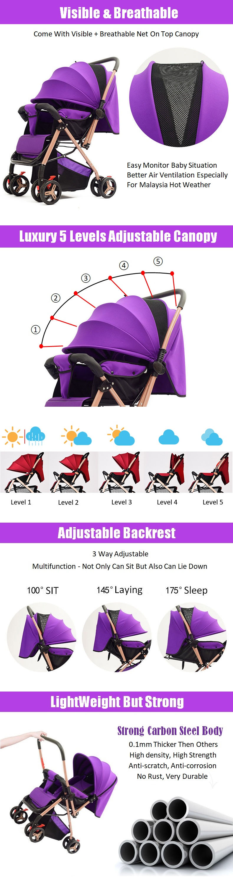 Multifunctional 2 Two Way Facing Lightweight Baby Stroller Folding with 8X Wheels + Adjustable Backrest + Canopy + Front Suspension + Free 4 Gift