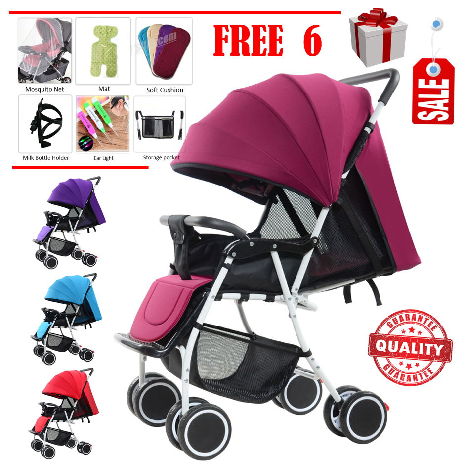 Multifunctional HY19 Lightweight Baby Stroller Folding with 8X Wheels + Adjustable Backrest & Footrest + Canopy + Front Suspension + Free 4 Gift