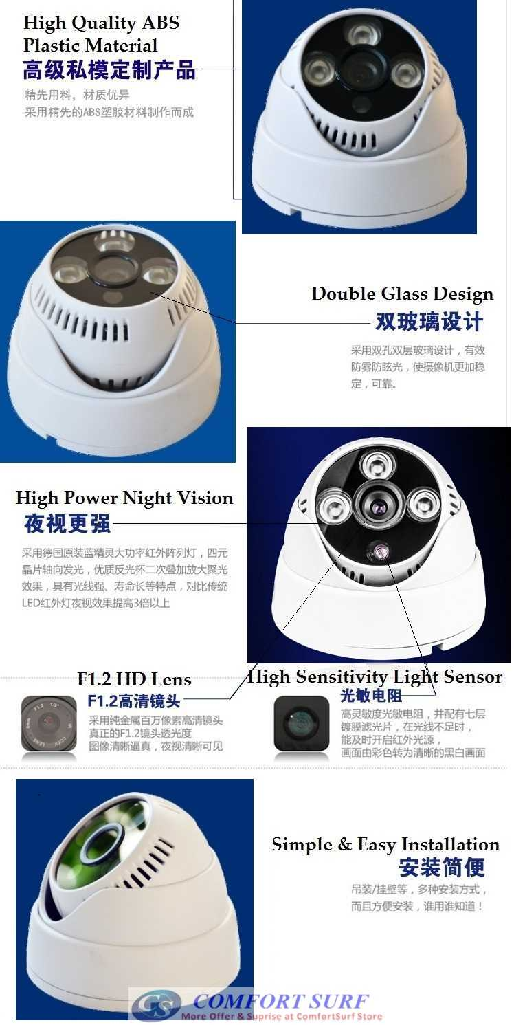 "Latest 1200TVL High Resolution SecurEyes CCTV Dome 1/3"" IR Infrared Color CCD Camera 3Big Array Lamp"